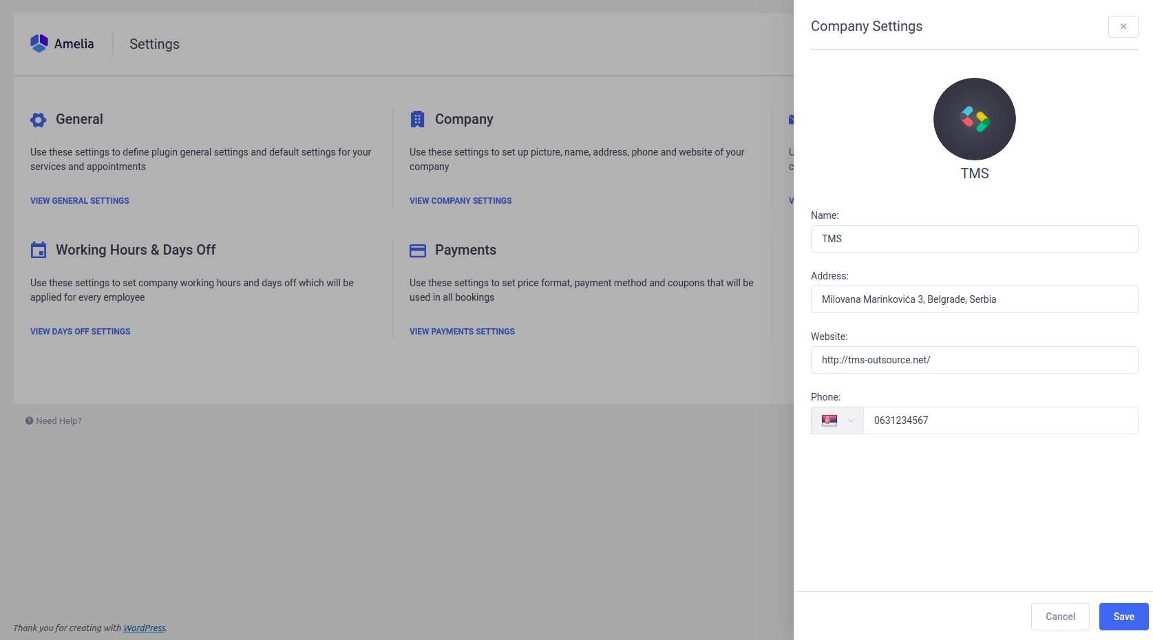 Company Settings in Amelia - WordPress Booking Plugin
