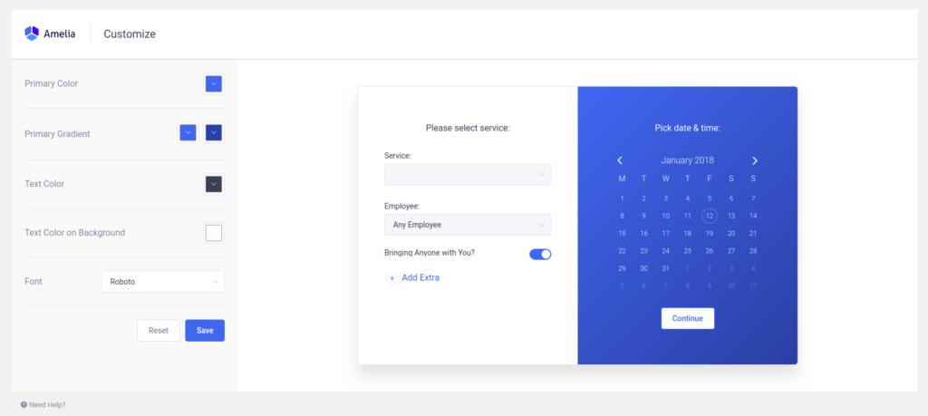 Customize Amelia Design - Amelia Booking WordPress Plugin
