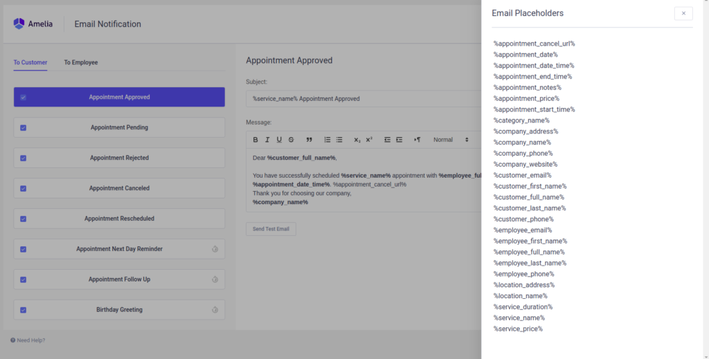 Notifications - Amelia Booking WordPress Plugin