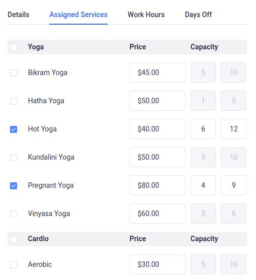 Amelia WordPress - Employee's assigned services