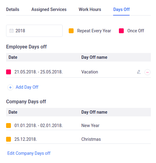 Amelia WordPress - Employee's days off