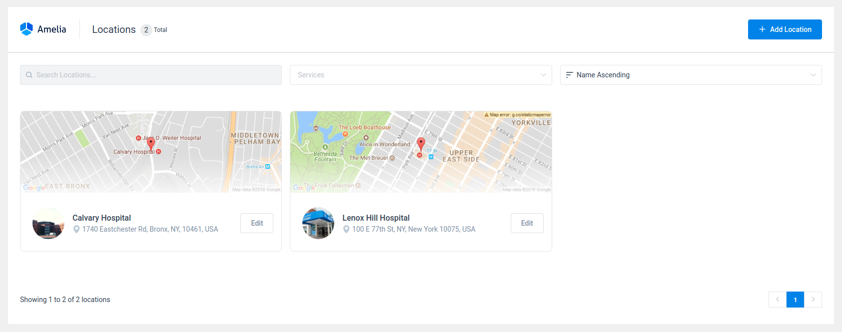 Amelia WordPress - Locations Page