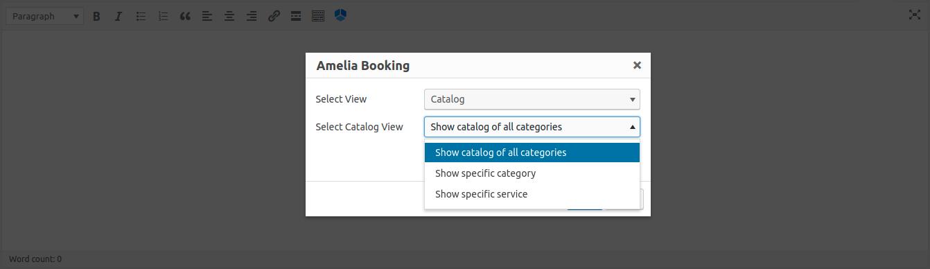 Amelia WordPress - Add Catalog Shortcode