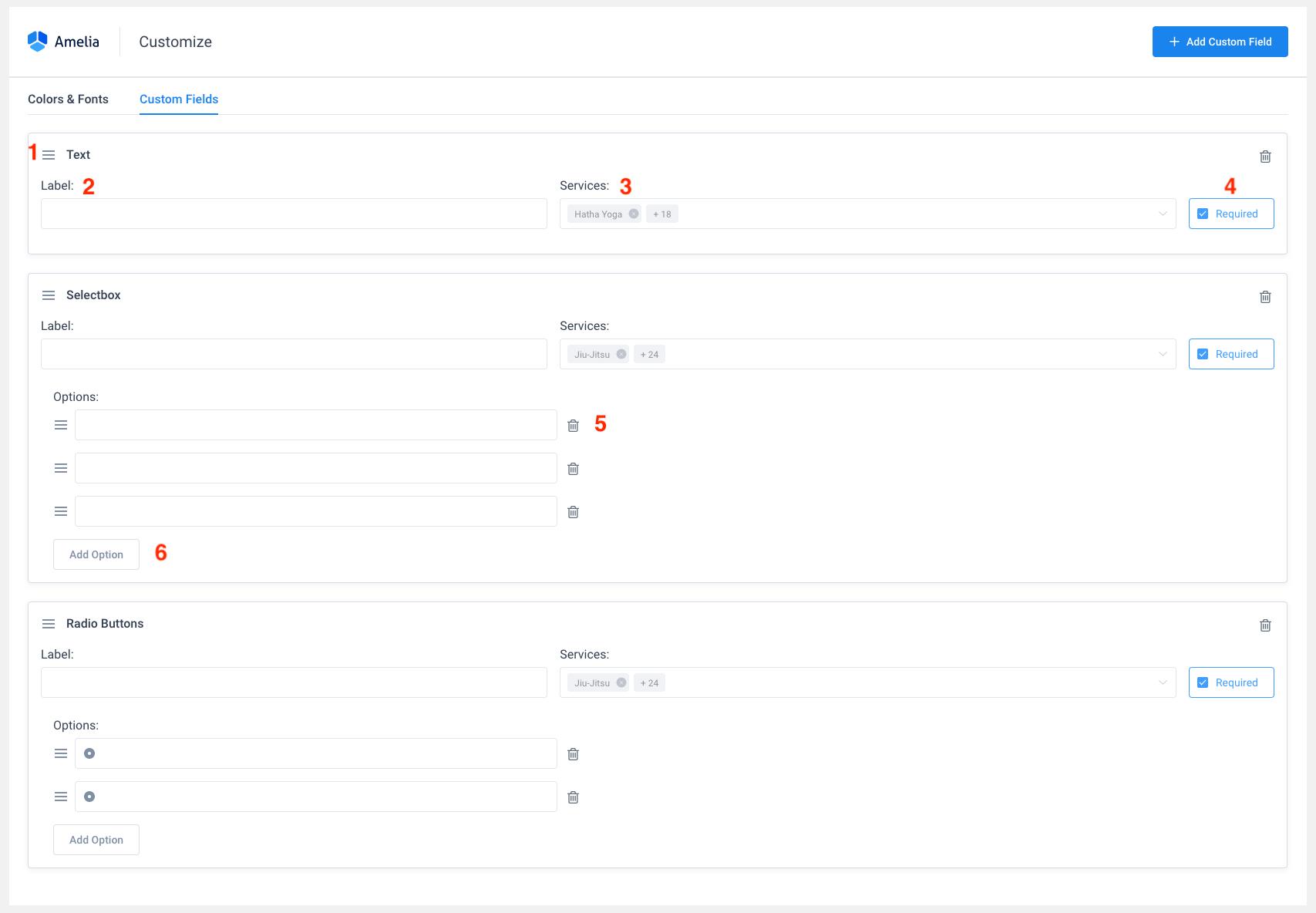 Customize page Amelia WordPress Booking plugin