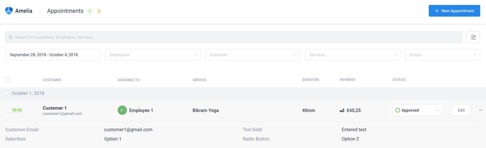 Custom fields Appointment info - Amelia WordPress Booking plugin