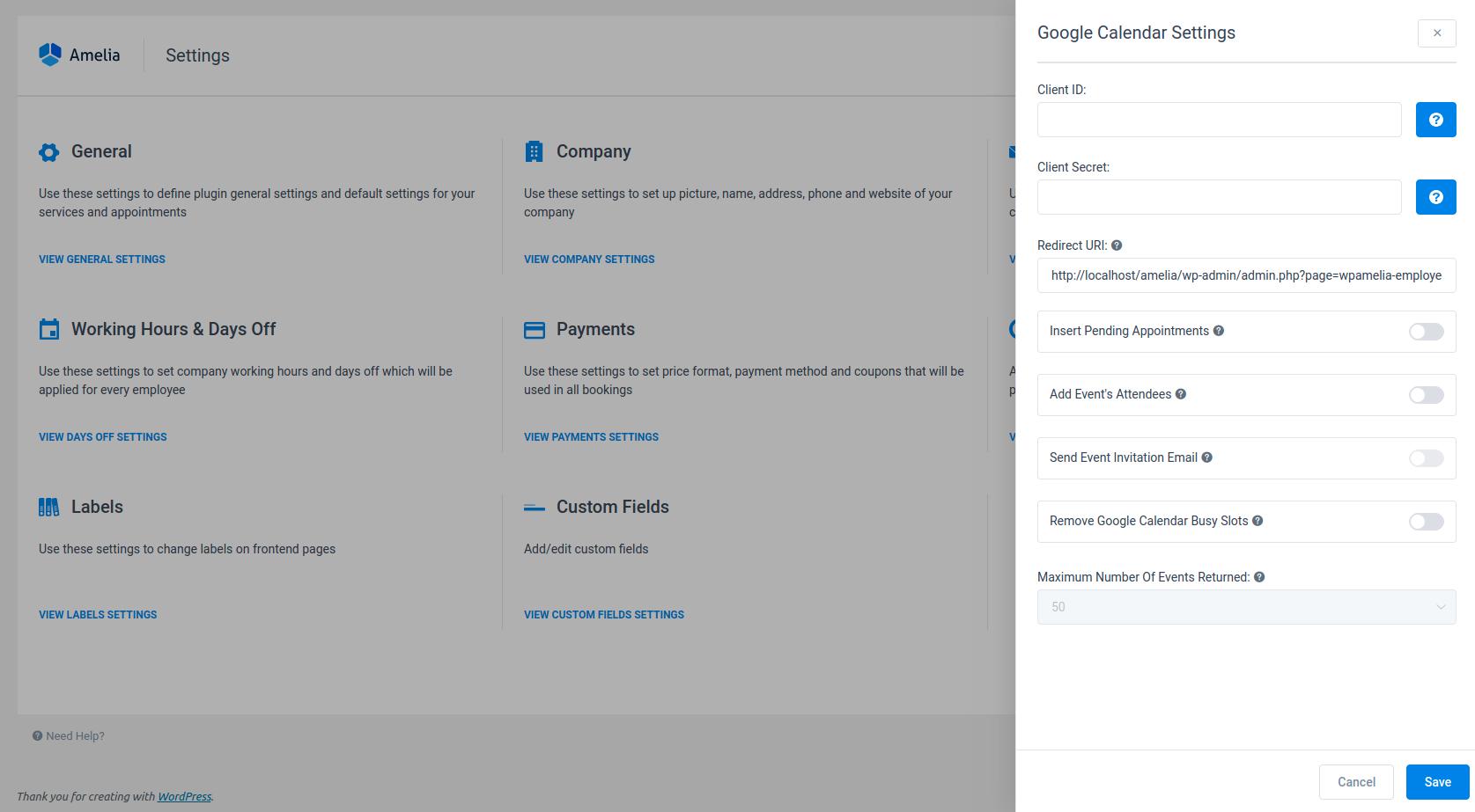 Google Calendar Settings Amelia Booking plugin