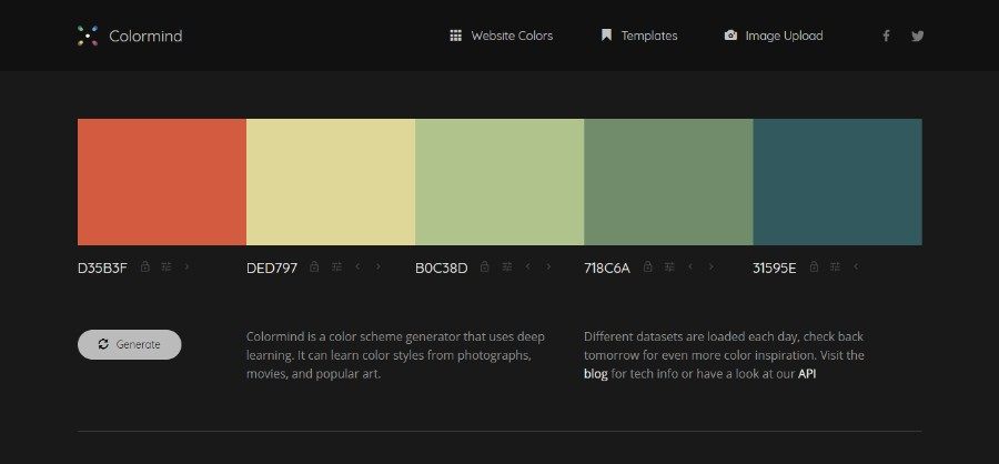 7220c68879a7f Colormind is a unique tool that uses color styles from films, art, and  photos in order to create a color palette. If no colors are locked, it  creates random ...