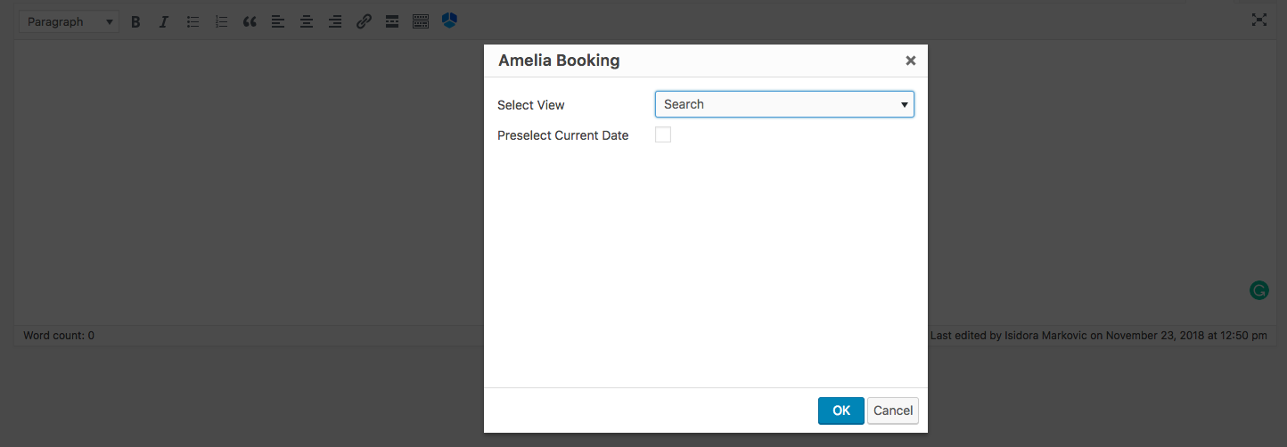 Search shortcode Amelia WordPress booking plugin