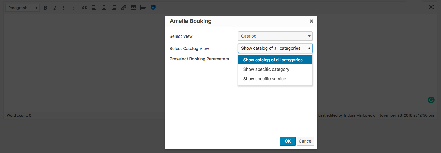 Catalog shortcode Amelia Booking WP plugin