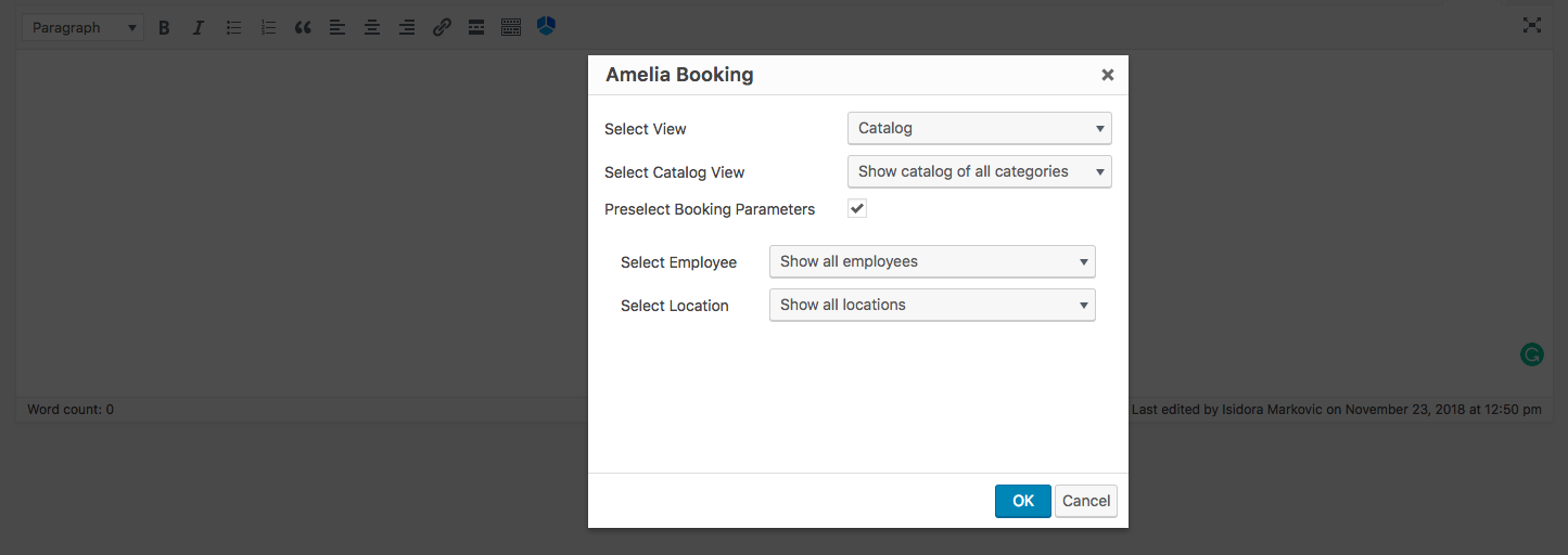 Catalog shortcode options Amelia Booking WP plugin