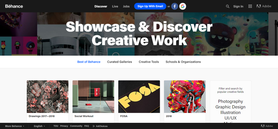 7ebf2b175aa52 Free Online Portfolio Websites to Create the Perfect UX UI Design Portfolios.  Behance (Free)
