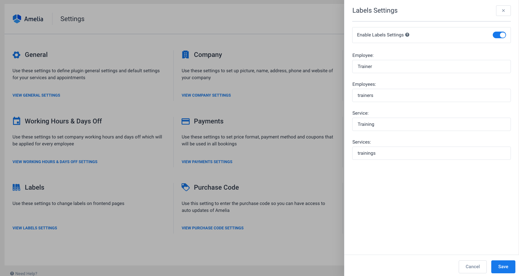 Labels Settings Amelia WordPress Booking Plugin
