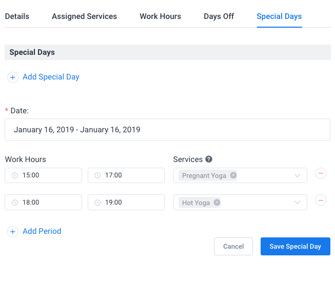 Special Days WordPress Amelia Booking Plugin