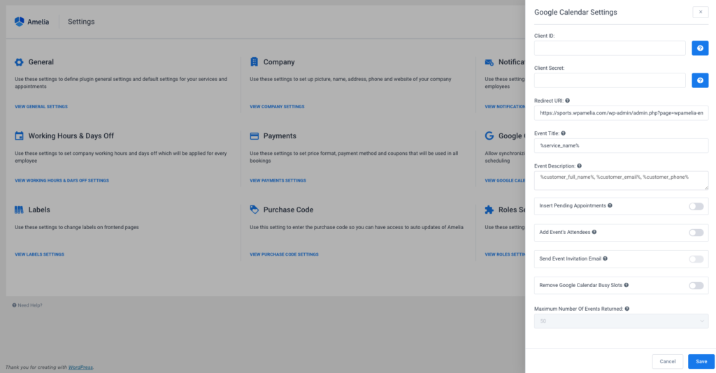 Configuring Google Calendar 2-way Sync - Amelia Booking