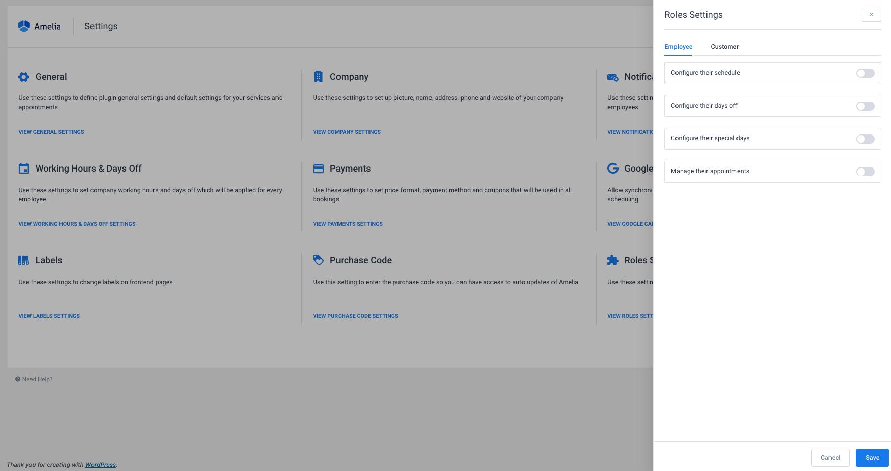 Roles Settings Amelia WordPress Booking Plugin