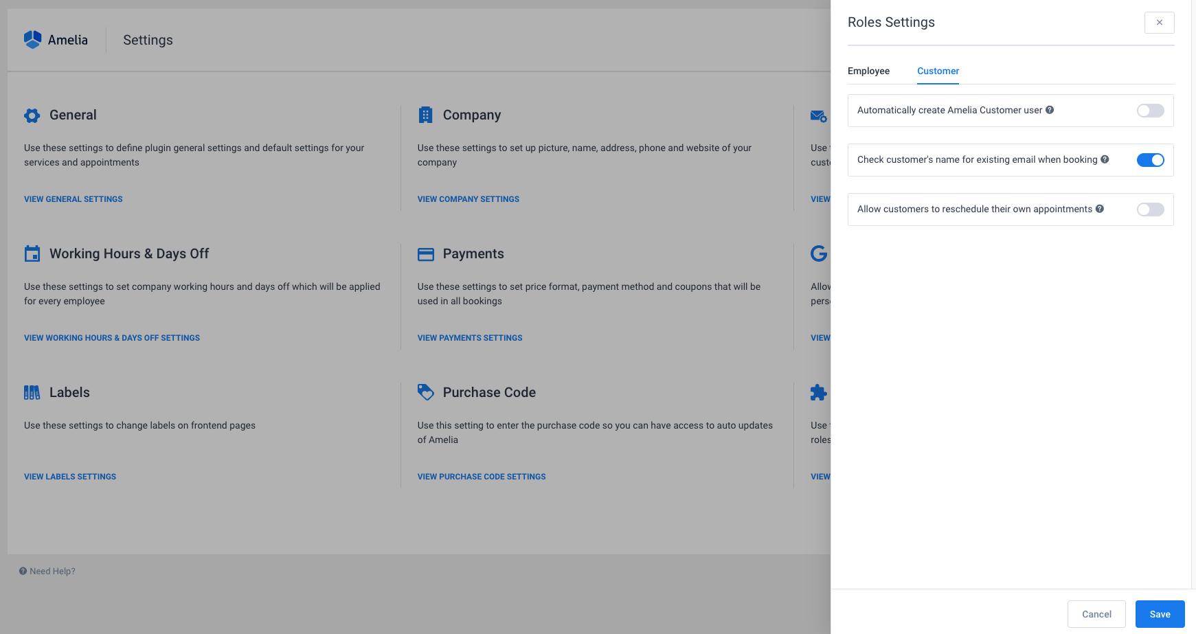 Customer Roles Settings Amelia WordPress Booking plugin