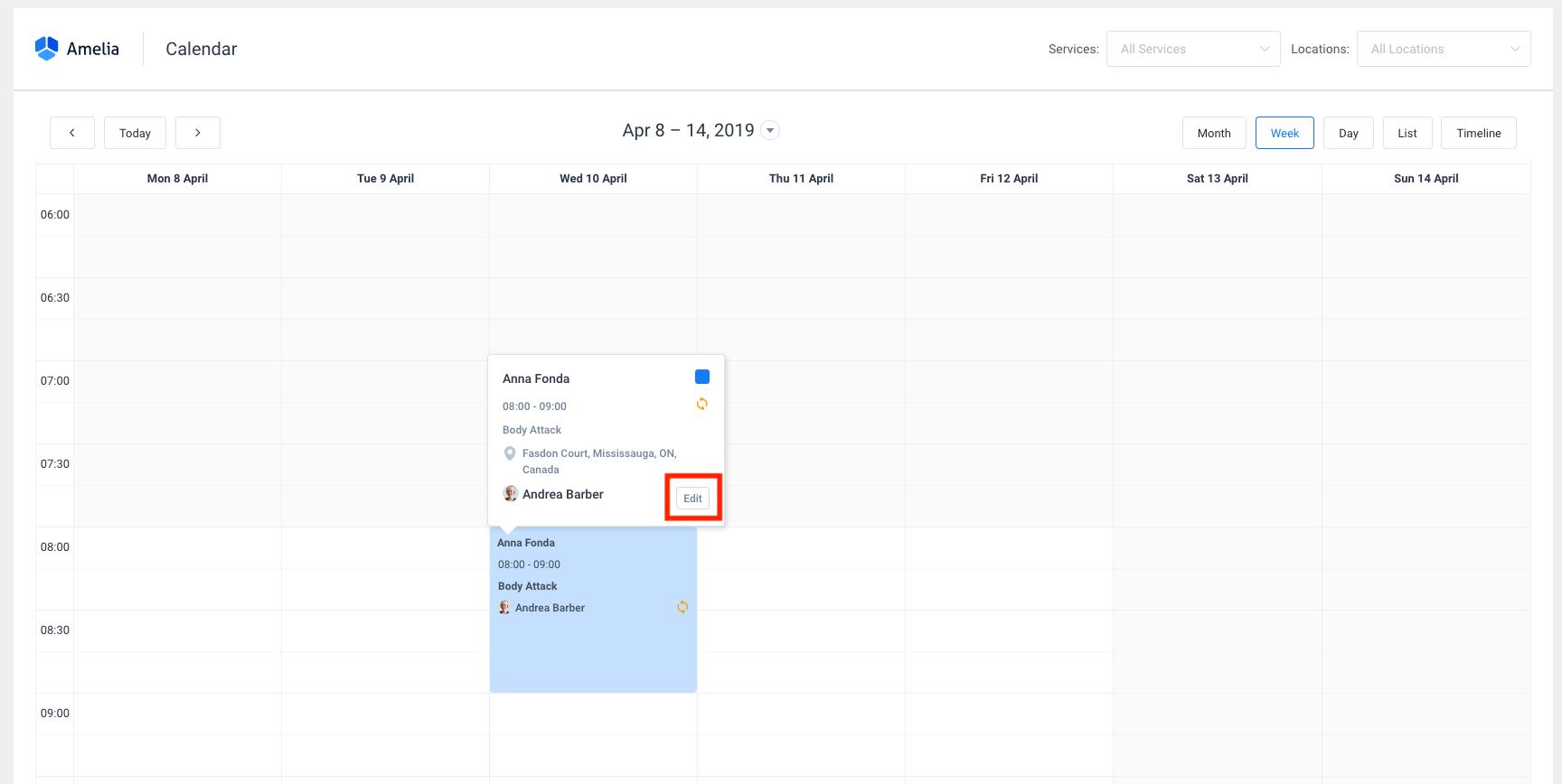 Reschedule Amelia WordPress Booking plugin