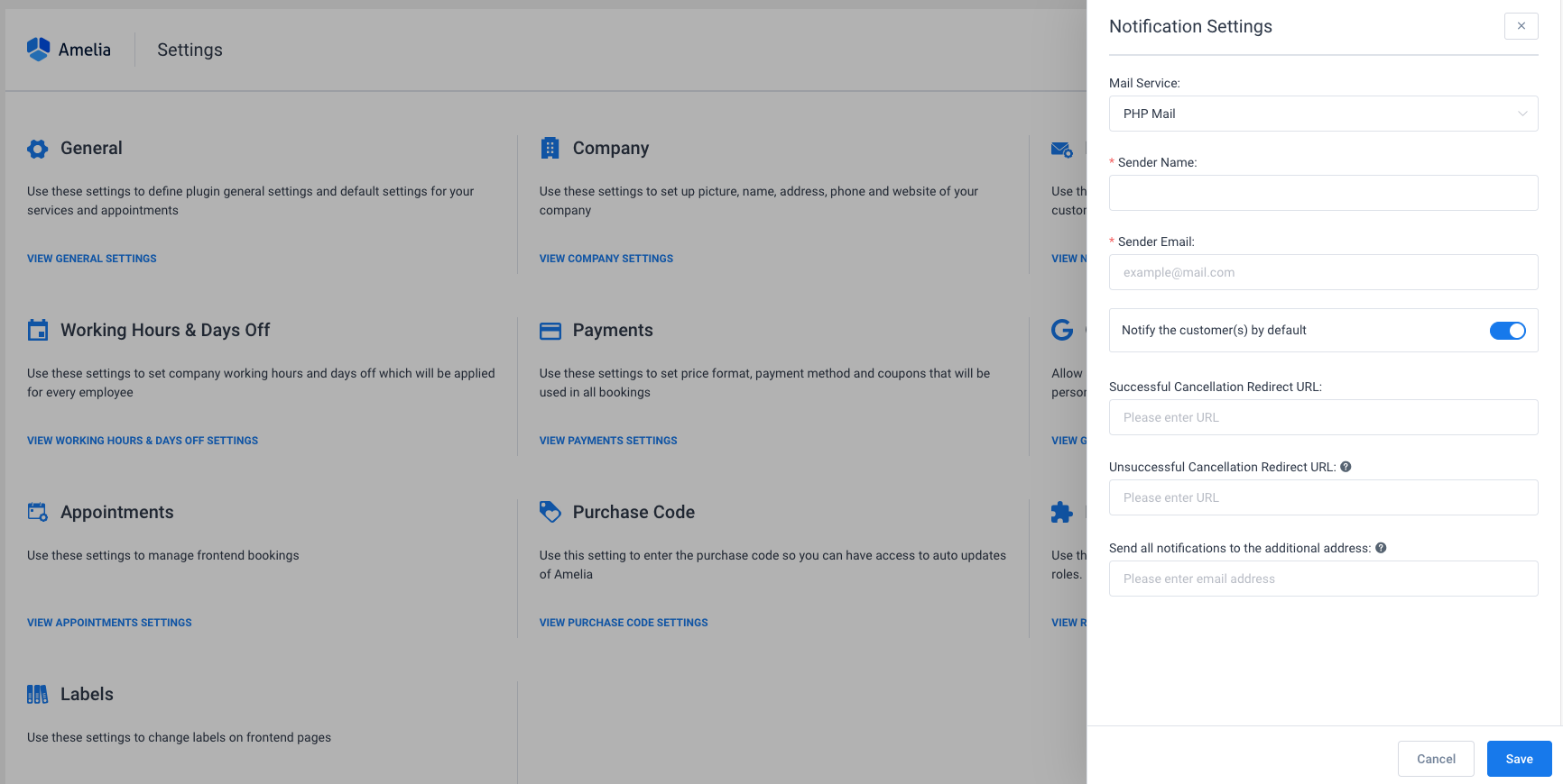 Notifications Settings Amelia WordPress Booking plugin