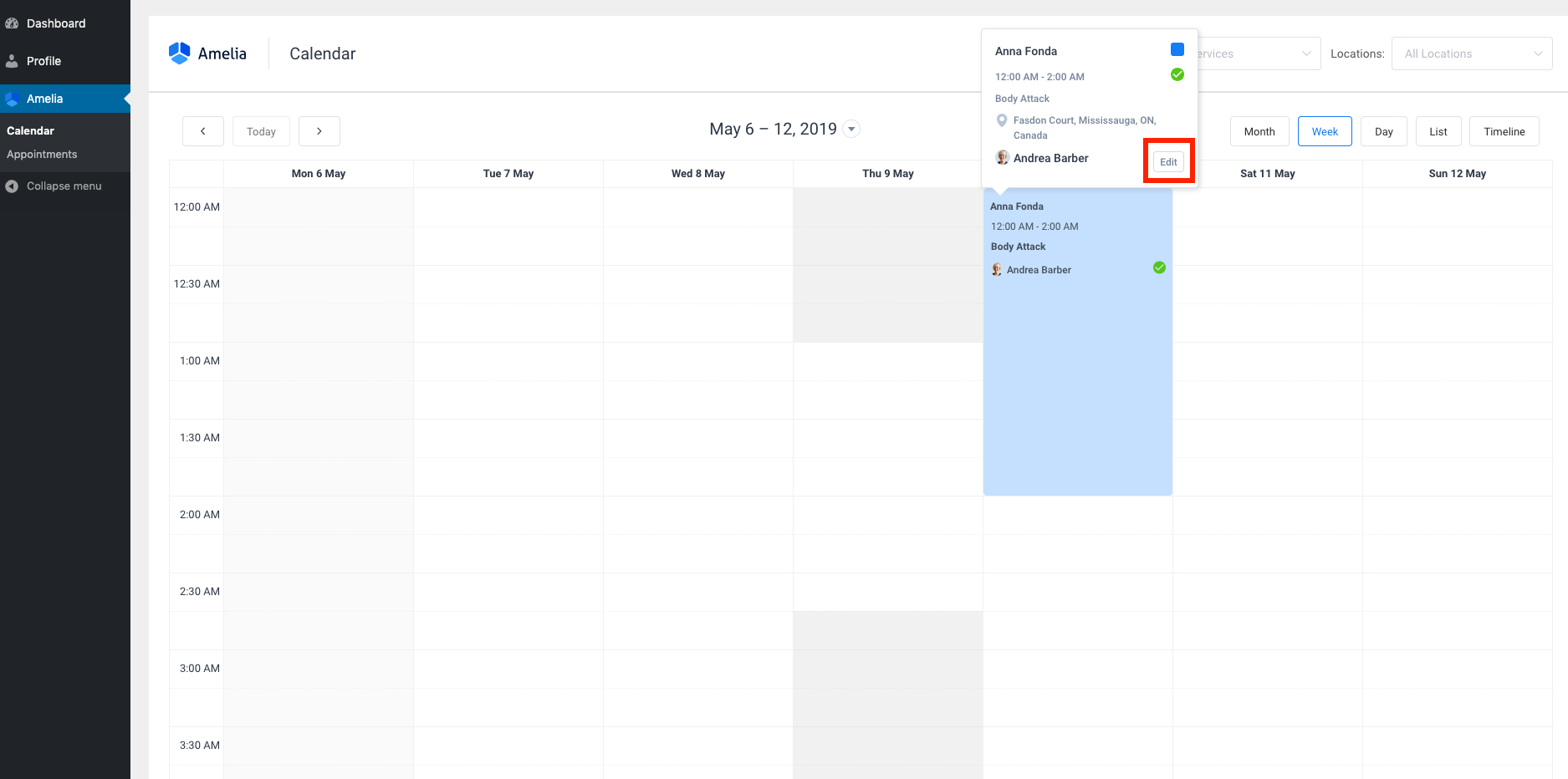 Customer Reschedule Option Amelia WordPress Booking plugin