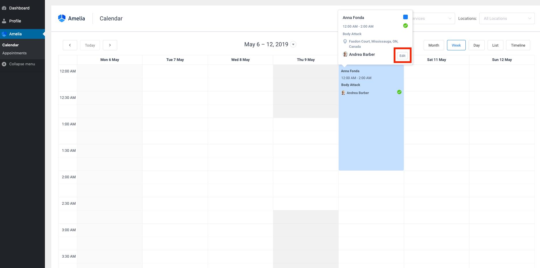 Customer Reschedule Option Amelia WordPress Booking plugin