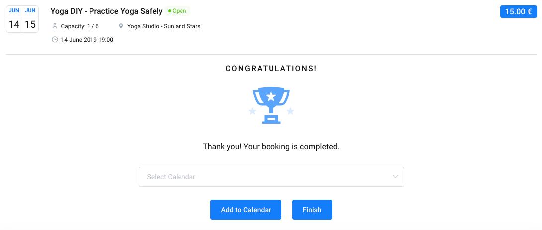 Booking Finish Amelia WordPress Booking plugin