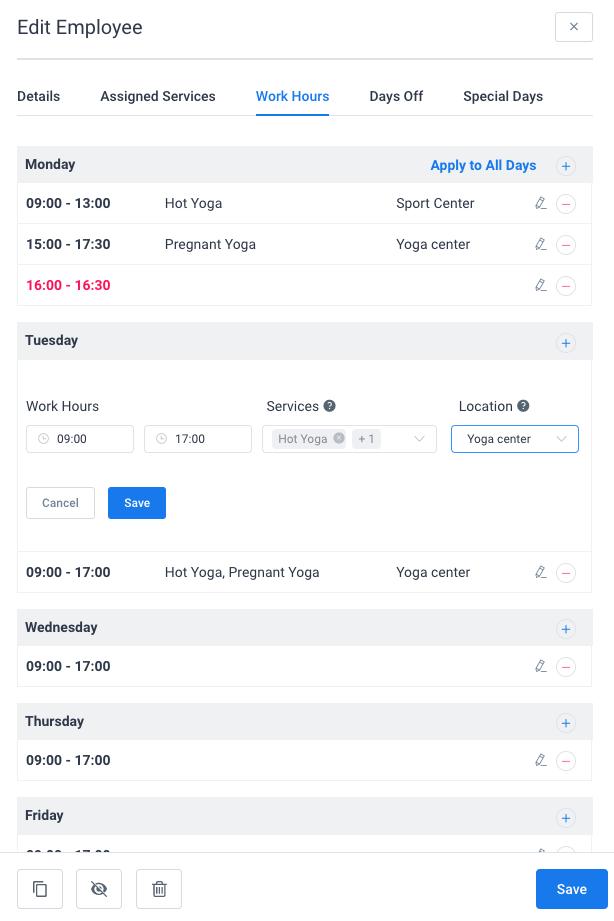 Work hours Amelia WordPress booking plugin