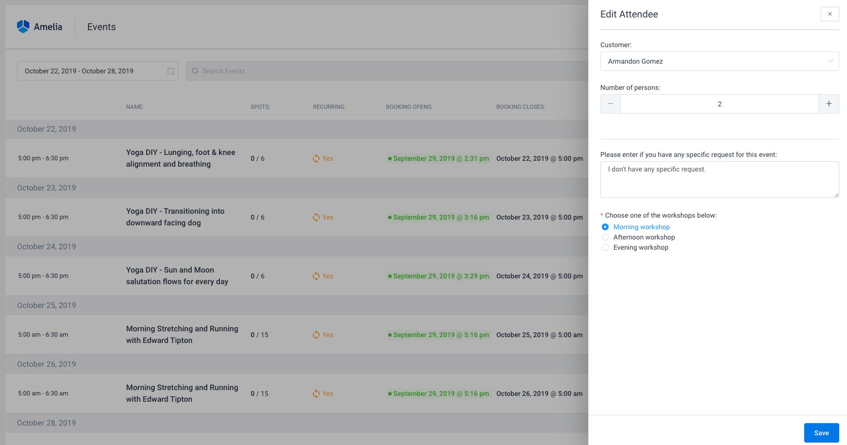 Custom fields Events Amelia WordPress Booking plugin