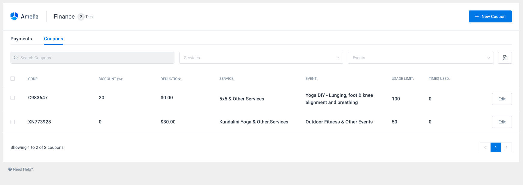 Coupons page Amelia WordPress booking plugin