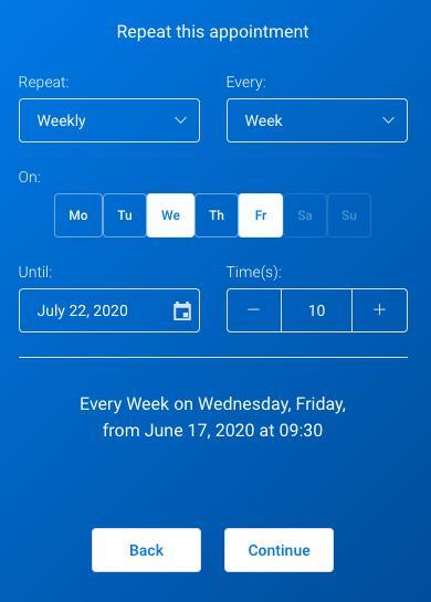 Weekly recurring Amelia WordPress Booking plugin