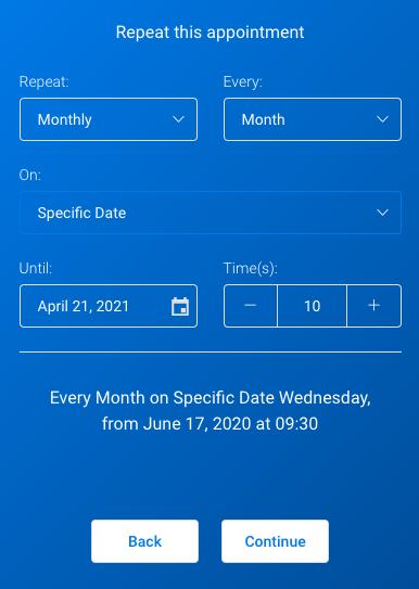 Monthly recurring Amelia WordPress Booking plugin