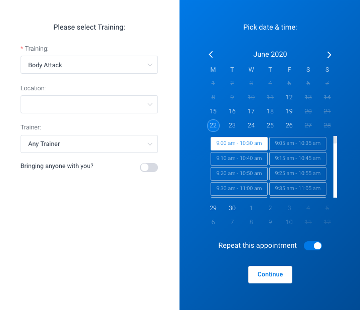 Recurring front-end option Amelia WordPress booking plugin