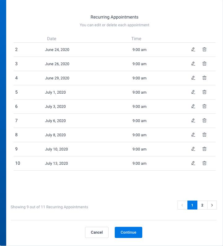 Recurring list Amelia WordPress booking plugin