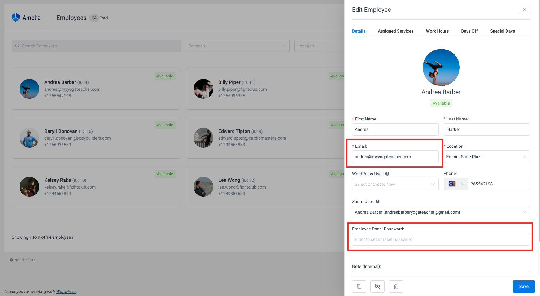 Employee panel password Amelia WordPress Booking plugin