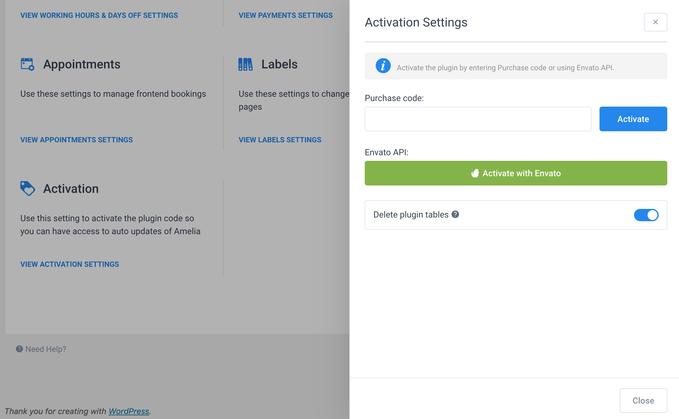 Activation Settings Amelia WordPress Booking plugin