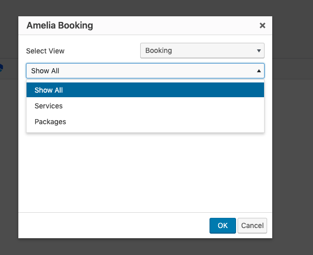 Show All Shortcode Option Amelia Booking plugin