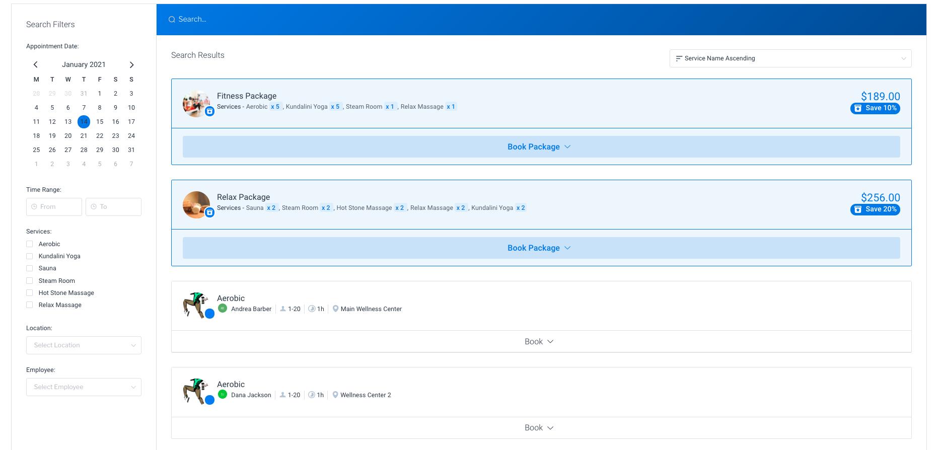 Search Booking Form Amelia WordPress Booking Plugin