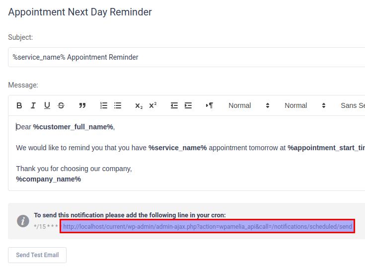 scheduled notification URL
