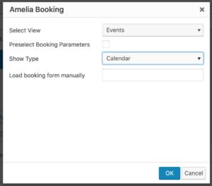Events Calendar Shortcode Amelia WordPress Booking Plugin