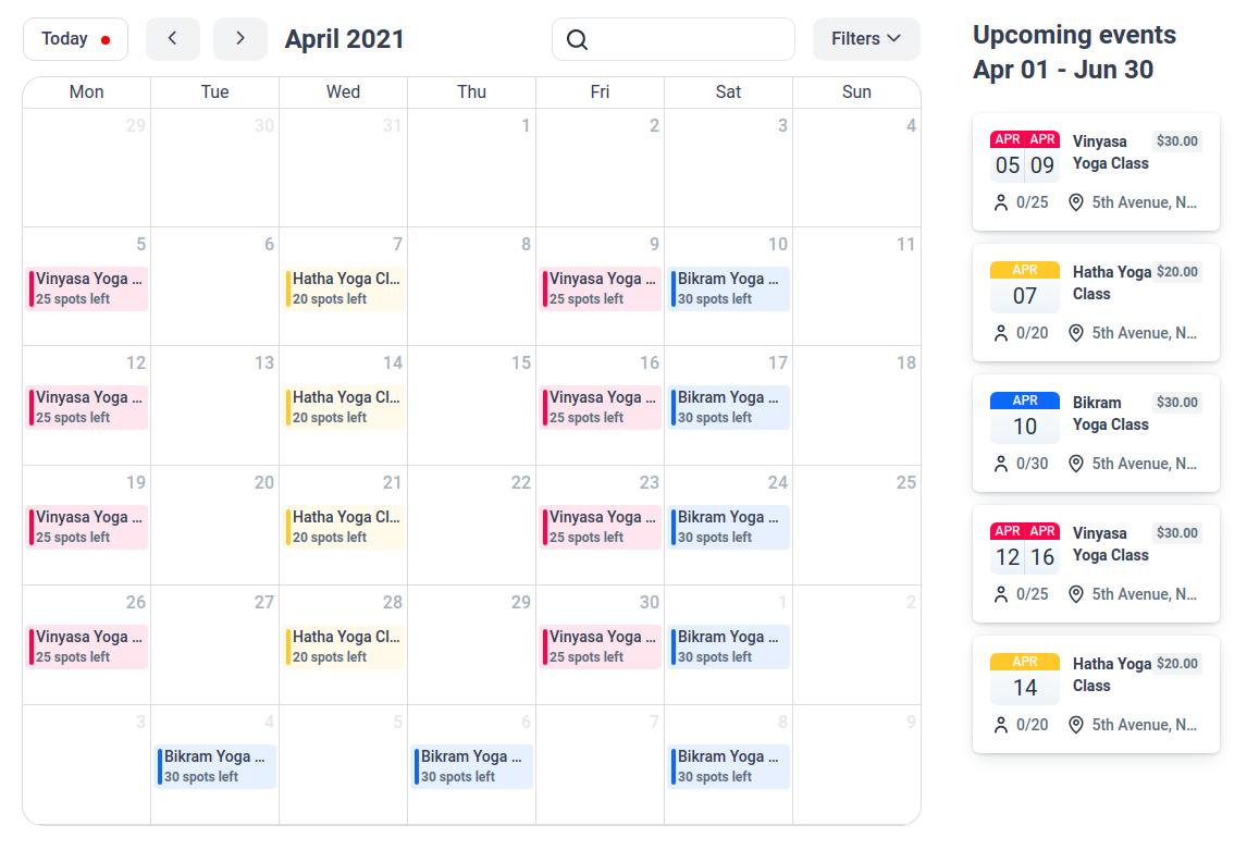 Events Calendar View Amelia WordPress Booking Plugin