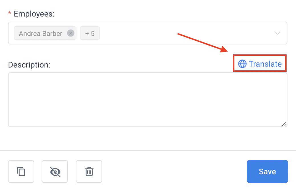Translate Service Description Amelia WordPress Booking Plugin