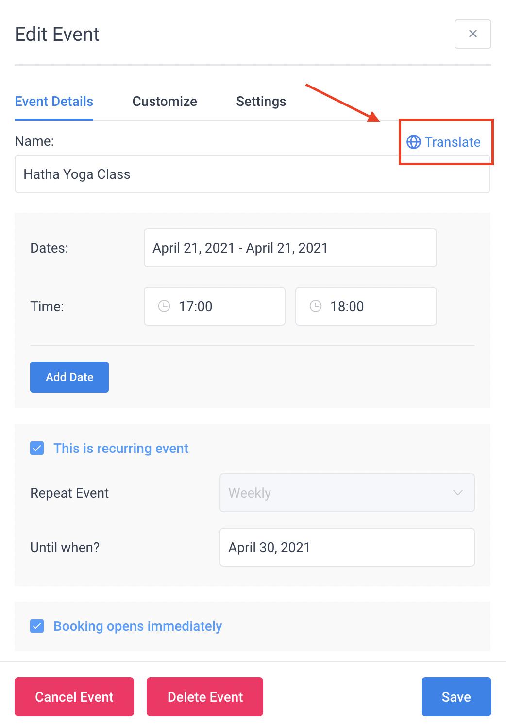 Event Name Translate Amelia Booking Plugin