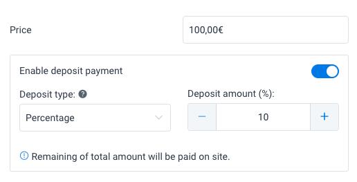 Deposit Type Amelia WordPress Booking Plugin